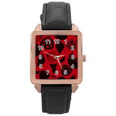 Congregation Of Floral Shades Pattern Rose Gold Leather Watch