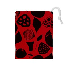 Congregation Of Floral Shades Pattern Drawstring Pouches (Large)