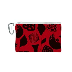 Congregation Of Floral Shades Pattern Canvas Cosmetic Bag (S)