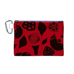 Congregation Of Floral Shades Pattern Canvas Cosmetic Bag (m)