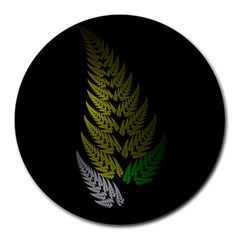 Drawing Of A Fractal Fern On Black Round Mousepads