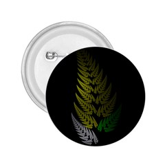 Drawing Of A Fractal Fern On Black 2.25  Buttons
