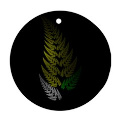 Drawing Of A Fractal Fern On Black Ornament (round)