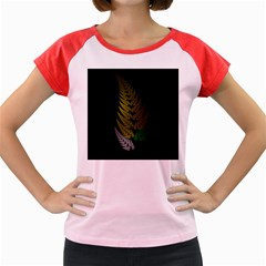 Drawing Of A Fractal Fern On Black Women s Cap Sleeve T Shirt