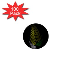 Drawing Of A Fractal Fern On Black 1  Mini Buttons (100 Pack)
