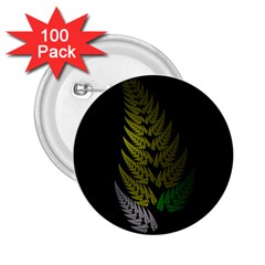 Drawing Of A Fractal Fern On Black 2.25  Buttons (100 pack)