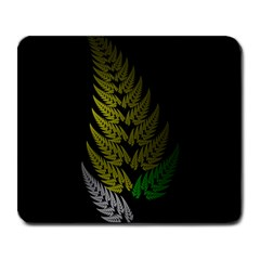 Drawing Of A Fractal Fern On Black Large Mousepads