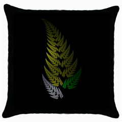 Drawing Of A Fractal Fern On Black Throw Pillow Case (black)