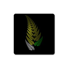 Drawing Of A Fractal Fern On Black Square Magnet