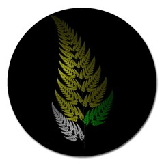 Drawing Of A Fractal Fern On Black Magnet 5  (Round)