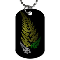 Drawing Of A Fractal Fern On Black Dog Tag (One Side)