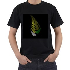 Drawing Of A Fractal Fern On Black Men s T-Shirt (Black) (Two Sided)