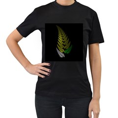 Drawing Of A Fractal Fern On Black Women s T-Shirt (Black) (Two Sided)