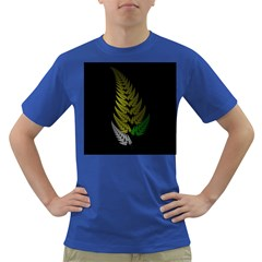 Drawing Of A Fractal Fern On Black Dark T Shirt