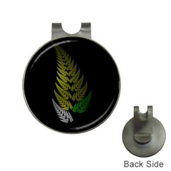 Drawing Of A Fractal Fern On Black Hat Clips With Golf Markers