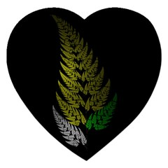 Drawing Of A Fractal Fern On Black Jigsaw Puzzle (heart)
