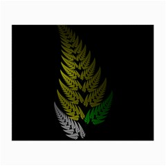 Drawing Of A Fractal Fern On Black Small Glasses Cloth