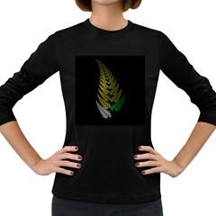 Drawing Of A Fractal Fern On Black Women s Long Sleeve Dark T Shirts