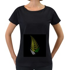 Drawing Of A Fractal Fern On Black Women s Loose-Fit T-Shirt (Black)