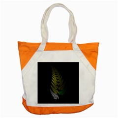 Drawing Of A Fractal Fern On Black Accent Tote Bag