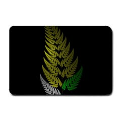 Drawing Of A Fractal Fern On Black Small Doormat