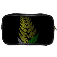 Drawing Of A Fractal Fern On Black Toiletries Bags 2 Side
