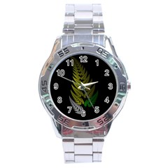 Drawing Of A Fractal Fern On Black Stainless Steel Analogue Watch