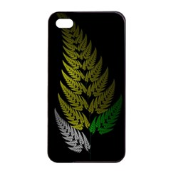Drawing Of A Fractal Fern On Black Apple iPhone 4/4s Seamless Case (Black)