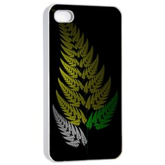 Drawing Of A Fractal Fern On Black Apple iPhone 4/4s Seamless Case (White)
