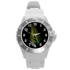 Drawing Of A Fractal Fern On Black Round Plastic Sport Watch (L)
