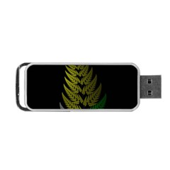 Drawing Of A Fractal Fern On Black Portable USB Flash (Two Sides)