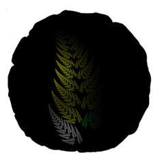 Drawing Of A Fractal Fern On Black Large 18  Premium Round Cushions