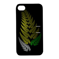 Drawing Of A Fractal Fern On Black Apple iPhone 4/4S Hardshell Case with Stand