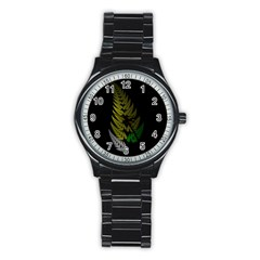 Drawing Of A Fractal Fern On Black Stainless Steel Round Watch