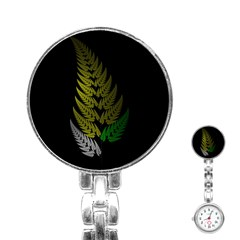 Drawing Of A Fractal Fern On Black Stainless Steel Nurses Watch