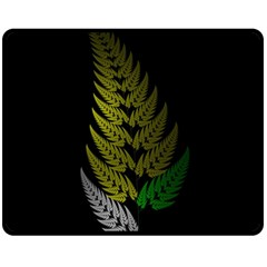 Drawing Of A Fractal Fern On Black Double Sided Fleece Blanket (medium)