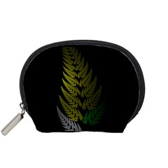 Drawing Of A Fractal Fern On Black Accessory Pouches (Small)