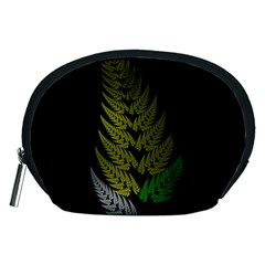 Drawing Of A Fractal Fern On Black Accessory Pouches (medium)