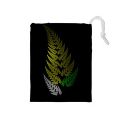 Drawing Of A Fractal Fern On Black Drawstring Pouches (Medium)