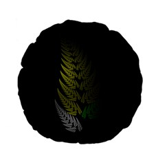 Drawing Of A Fractal Fern On Black Standard 15  Premium Flano Round Cushions