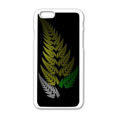 Drawing Of A Fractal Fern On Black Apple iPhone 6/6S White Enamel Case