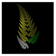 Drawing Of A Fractal Fern On Black Large Satin Scarf (square)