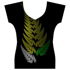 Drawing Of A Fractal Fern On Black Women s V-Neck Cap Sleeve Top