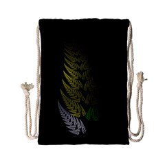 Drawing Of A Fractal Fern On Black Drawstring Bag (small)