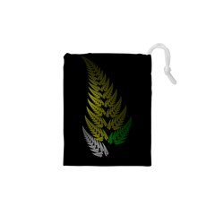 Drawing Of A Fractal Fern On Black Drawstring Pouches (XS)