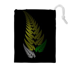 Drawing Of A Fractal Fern On Black Drawstring Pouches (extra Large)