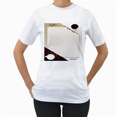 Greeting Card Coffee Mood Women s T-Shirt (White) (Two Sided)