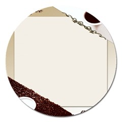 Greeting Card Coffee Mood Magnet 5  (round)