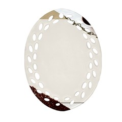 Greeting Card Coffee Mood Oval Filigree Ornament (Two Sides)