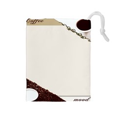 Greeting Card Coffee Mood Drawstring Pouches (Large)